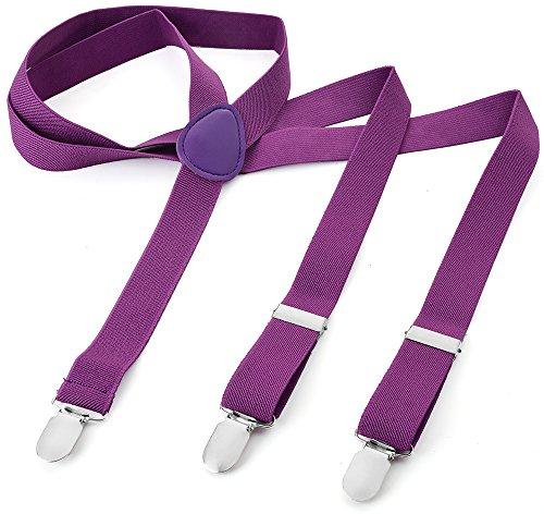 Herren Damen Long Hosenträger Y Form Style 3er Clips elastisch Schmal Unifarbe und Bunt mit verschiedenen Motiv, Violett (Violett),Gr. One Size Violett-motiv