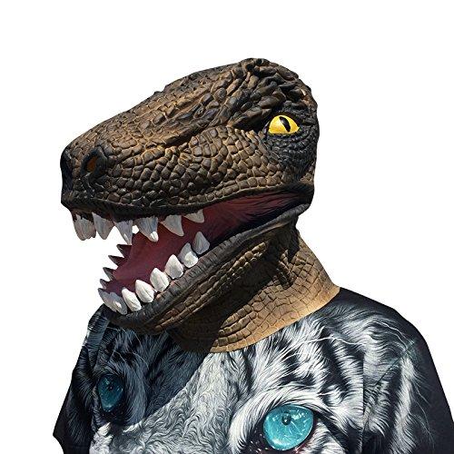 Dinosaur Dinosaurier Dino tyrannosaurus rex Maske mask aus sehr hochwertigen Latex Material mit Öffnungen an Augen Halloween Karneval Fasching Kostüm Verkleidung für Erwachsene Männer und Frauen Damen Herren gruselig Grusel (Rex Kostüm Tyrannosaurus)