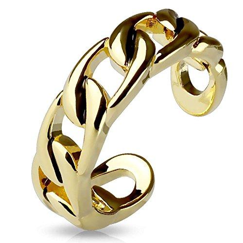 Bungsa Gold Zehring Kettenglieder Gold Silber Brass für Damen (Zehring Fussschmuck Fussring Toe-Ring Nail Ring Nagelring biegbar Verstellbar)