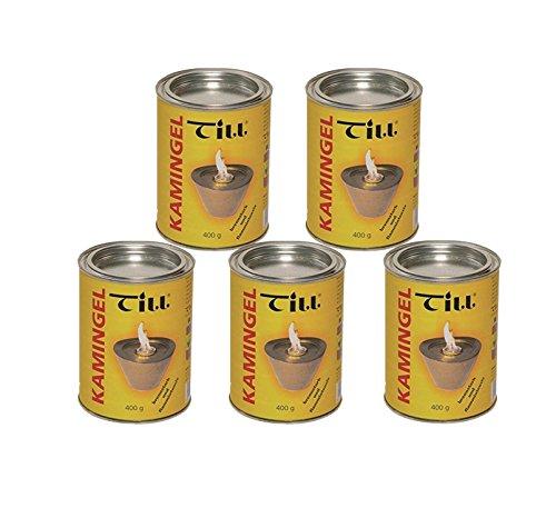 5er Pack Kamingel - Brenngel - Gelkamine - Ethanolkamine - Gartenfeuer - Feuer - Anzünder - Brennstoff - Gelkaminen - Gelbrennern - Feuertöpfen - Feuersäule - Brenndosen - Feuergel - 5 x 400ml