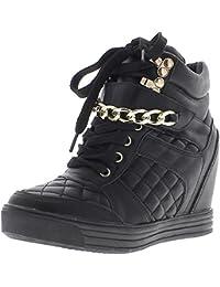 Levantamiento zapatillas cuña negros con tacón de 8cm