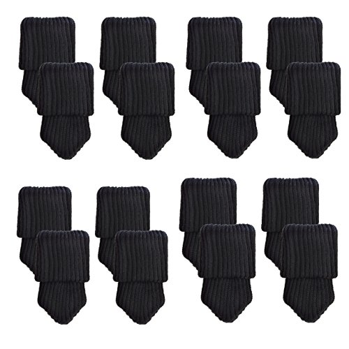 Mogoko 16 x Stuhlbeinsocke Möbel Socken Anti-Rutsch Wollsocken Hocker Fessel Tabellen Cotton Caps Fußboden Schutz Stuhl Bein Floor Protector (Schwarz) (Schwarzer Bambus Stuhl)