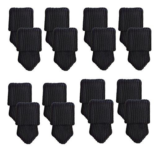 Mogoko 16 x Stuhlbeinsocke Möbel Socken Anti-Rutsch Wollsocken Hocker Fessel Tabellen Cotton Caps Fußboden Schutz Stuhl Bein Floor Protector (Schwarz)