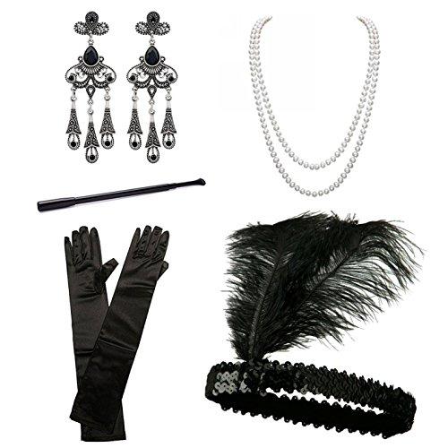 BigLion 20 Jahre Accessoires Flapper Set Stirnband Ohrringe Perlen Halskette Lange Schwarze Handschuhe Zigarettenspitze Gatsby Accessoires(C) (Perle Der Flapper Halskette)