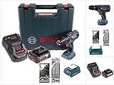 Bosch GSB 18-2-Li Plus Schlagbohrschrauber Professional 18 V im Koffer + 1x GBA 6,0 Ah + Bosch GAL 1880 CV Schnellladegerät + Bosch 5 tlg. Steinbohrer Set + Bosch Holzbohrer Set 7 tlg. + Bosch USB Ladegerät Adapter für 18V Akkus