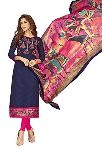 Priyavadhu Women's Slub Cotton straight Unstitched Salwar kameez Dress material (BLMHR1008_Navy Blue_Free...