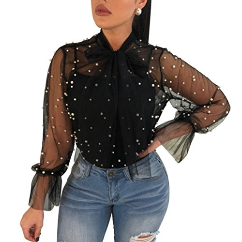 Internet-Damen Tops Top Damen,Internet Frau Reizvolle Sommer Nagel-Perle Transparent Lange Ärmel Shirt Bluse Mode Bowknot-Kragen Blouse Streetwear Tshirt Mädchen Kleidung (Schwarz, L)