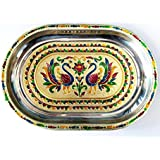 Royals Rajasthani Meena Worked Stainless Steel Serving Tray For Festive Occassion And Gifts , Home Decor