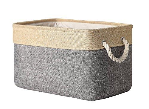 Foxyassort scatola portaoggetti (40x 30x 21cm) in tessuto grigio e marrone per scaffali, armadi, bagno, cucina, camera dei bambini. ideale abbigliamento, abiti bambino, giocattoli, strumenti, documenti