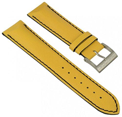 Uhrenarmband Nautica Kautschuk/PU gelb mit schwarzer Naht 22mm für A32503G