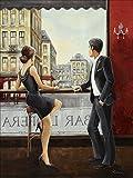 Artland Qualitätsbilder I Alu Dibond Bilder Alu Art 60 x 80 cm Wohnwelten Bar Lounges Malerei Bordeauxrot A5UM Bar