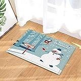 fuhuaxi Yaer Decor Schneemann Wegweiser Frohe Weihnachten Bad Teppiche Rutschfeste Fußmatte Bodeneingänge Indoor Haustür Matte Kinder Bad Matte 60X40 cm Bad Zubehör