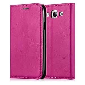 JAMMYLIZARD   Ledertasche für [ Galaxy S3 / S3 Neo ] Swiss Wallet Hülle, KNALLROSA mit integriertem Magnetverschluss