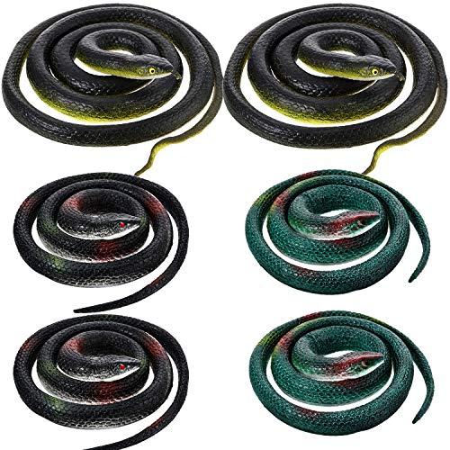 Blulu Große Gummi Schlangen Gefälschte Schlangen Schwarz Mamba Schlangen Spielzeuge für Garten Requisiten, um Vögel, Streiche, Halloween Dekoration zu erschrecken (Stil 2, 6 Stück) (Dekoration Ast, Halloween)