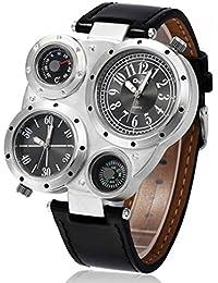 Moda Reloj de Cuarzo para Hombres Reloj de Pulsera con Correa de Cuero del  Faux y e0031d603db6