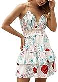 ECOWISH V Ausschnitt Kleid Damen Spitzenkleid Träger Rückenfreies kleider Sommerkleider Strandkleider 983Sahne M