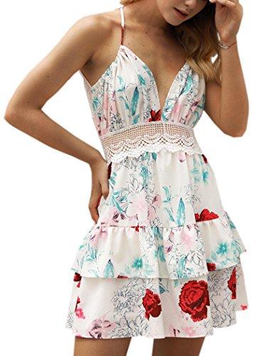 ECOWISH ECOWISH V Ausschnitt Kleid Damen Spitzenkleid Träger Rückenfreies Kleider Sommerkleider Strandkleider 983Sahne S