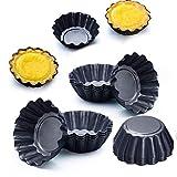 QAQWER Stampo per Torta all'uovo, Mini Rotonda Antiaderente Tart Pan Stampo per tartellette Stampo per Torta di Muffin in Stagno (6PCS)