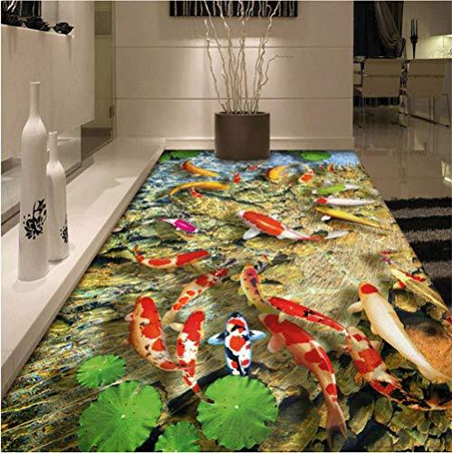 Pvc-decken-fliesen (Mddjj Pvc-Selbstklebende Wasserdichte Abnutzungs-Rutschfeste Wand-Papier-Aufkleber-Chinesische Art-Lotus-Karpfen-Badezimmer-Wohnzimmer-3D Fußboden-Fliesen-Wandkunst-Familie Scherzt Räume-280X200cm)