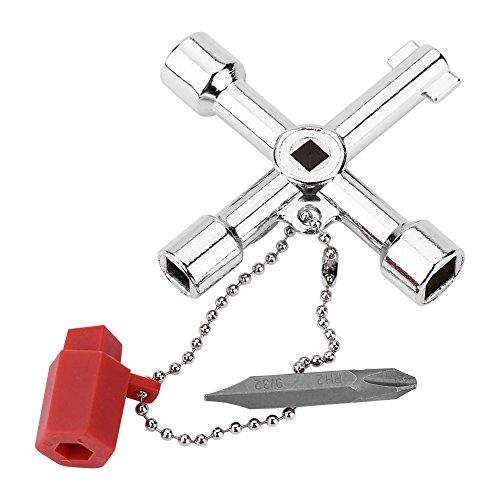 Universalschlüssel - 4-Wege-Multifunktions-Universalschlüssel mit Bit Zinklegierung Installateure Elektriker-Werkzeug
