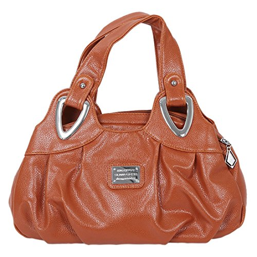 TOOGOO(R) Adatti la borsa di cuoio delle donne PU Bag Tote Bag Borse di stampa Satchel -Dream cartamo + Handstrap bianco Maturo Giallo bruno