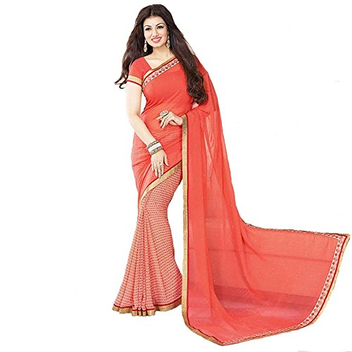 Citizenmart Georgette Saree (Ag042_Orange)
