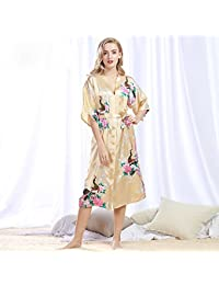 399fefacce XFGHN HOME Peacock robe bathrobe sexy cardigan simulation silk pajamas  ladies summer large size home service