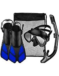Conjunto de Buceo/Snorkel Unisex de Omorc, Máscara de buceo de Vidrio Templado + Tubo Respirador + Aletas ajustable con Un bolso de la malla incluido, L/ XL-Negro