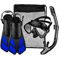 OMORC Conjunto de Buceo/Snorkel Unisex, Máscara de buceo de Vidrio Templado + Tubo Respirador + Aletas ajustable con Un bolso de la malla incluido, S/M-Negro