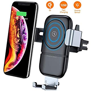 VANMASS Car Wireless Charger, Qi 10W Fast Phone Holder Charger with Auto-Clamping Adjustable Gravity Sensor Air Vent Mount, Compatible with iPhone Xs Xr X 8, Samsung S9 S8 Note 9, Huawei P10, OnePlus