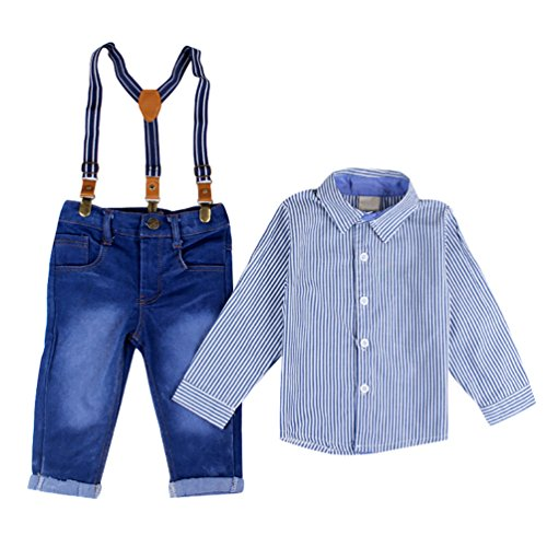 YOUJIA 2pcs Neonati Signori Cerimonia Battesimo Outfit Abbigliamento Gentleman Strisce Camicia Shirts + Jeans Pantaloni Salopette (Blu, 80)