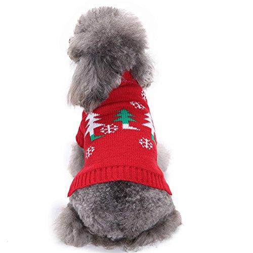Kostüm Muster Weihnachtsbaum - Cystyle Welpe Hund Katze Strickpullover Sweater Doggie Jumper Weihnachtsbaum-Muster Haustier Kostüm Mantel