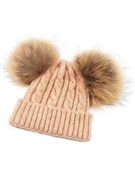 KVbaby Filles Bonnet en laine Mignon Enfants Chapeau hiver bonnet tricoté chaud Pompon Detachable en Fourrure Raccoon