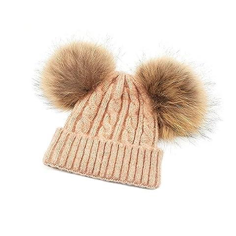 KVbaby Mädchen Winter Wärmer Mütze Kunstpelz Wollmütze Kinder Wolle Häkelarbeit Hut Ski Hüte,1-8 Jahre
