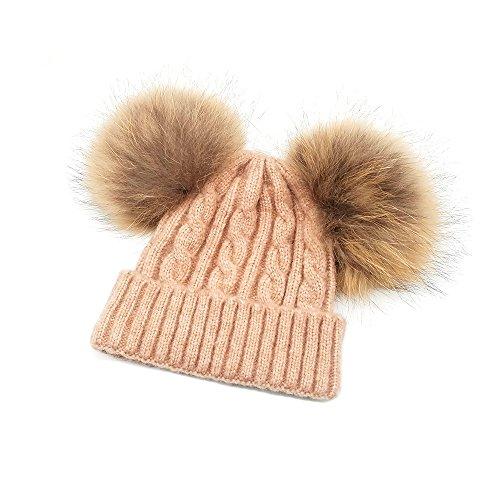 KVbaby Mädchen Winter Wärmer Mütze Kunstpelz Wollmütze Kinder Wolle Häkelarbeit Hut Ski Hüte,1-8 (Pudel Mädchen)