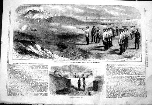 Artillery 1858 Company Londra che Pratica la Fortificazione Sussex di Seaford del Fucile di Leeds