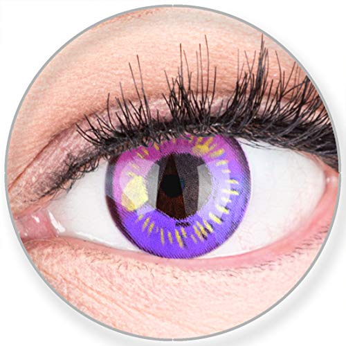 Funnylens Farbige Kontaktlinsen Lila Anime Violet Circle Lenses Heroes Of Cosplay Stark Deckend Ohne Stärke mit gratis Linsenbehälter (Augen Anime Kontaktlinsen)