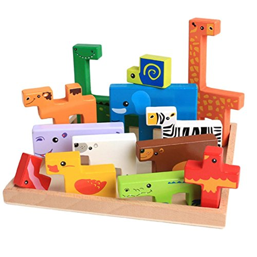 Fat.chot 10PC Wooden Building Blocks Cartoon Animal Puzzle Geometry Games Imagination DIY Toys Pre-school Educational Toys with Box