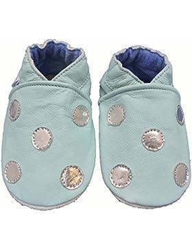 Zapatos de bebé de piel suave para niños y niñas, color azul claro con lunares color plateado