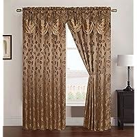 RT diseñadores colección Brenda Jacquard cortina de Rod bolsillo con Attached (54x 84-Inch), oro