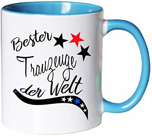 Mister Merchandise Kaffeebecher Tasse Bester Trauzeuge der Welt Hochzeit Heirat Partner Freund Bruder Danke Teetasse Becher Weiß-Hellblau