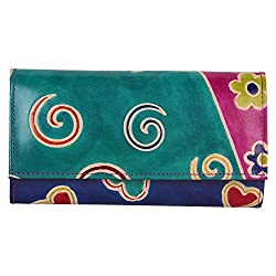 Anekaant Natura Women Genuine Leather Green Blue Wallet