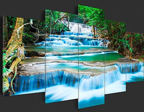 murando - Acrylglasbild Landschaft 200x100 cm - 5 Teilig - Glasbilder - Wandbilder XXL - Wandbild - Bilder - Natur Wasserfall Thailand Baum Wald b-B-0080-k-m - 5