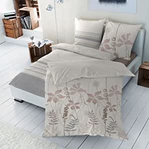 2 tlg. Edelflanell Baumwolle Bettwäsche Einzelbettgröße Nature Quer Streifen Düne Stucco Ornamente - 135x200 cm, 80x80 cm