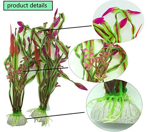 PANYTOW 5 Pieces Artificial Green Plant Grass Water plants for Fish Tank Aquarium Decor Ornament Decoration Plastic… 4