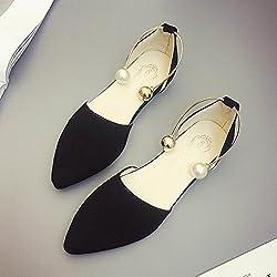 RUGAI-UE Sommer Sandalen Frauen flach Mund Schuhe Fashion Schuhe flache Spitze, Dreißig - neun, Schwarz