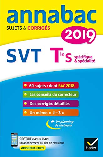 Annales Annabac 2019 SVT Tle S : sujets et corrigés du bac   Terminale S