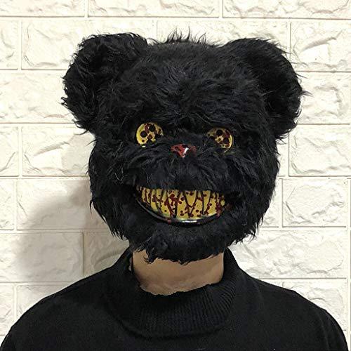 Halloween Maske Horrible Bear Head Maske Horror Cosplay Maske für Erwachsene Kostüm Party Cosplay Requisiten Maskerade Schwarz 13,8x9,8 Zoll (Bear Head Kostüm)