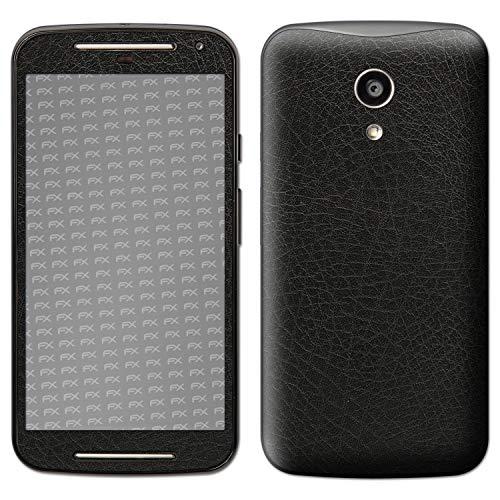 atFolix Skin kompatibel mit Motorola Moto G 2. Generation 2014, Designfolie Sticker (FX-Leather-Black), Feine Leder-Struktur