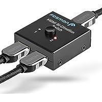 4K Conmutador Hdmi Switch, Fosmon 2x1 or 1x2 2 Puerto [HDMI 2.0 Standard, Ultra HD 4Kx2K@60Hz 3D] BiDirection Switcher Splitter con HDCP Passthrough para HDTV, PS4/PS3, Xbox, Apple/Fire TV, Roku